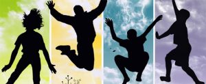 shadowed youth in various states of jumping